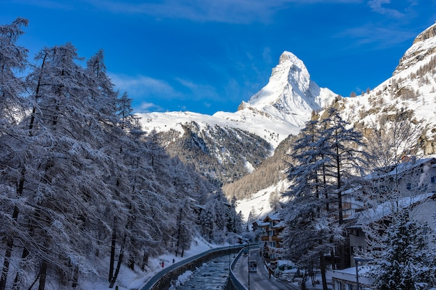 Beautiful view of zermatt valley with matterhorn peak in zermatt, switzerland
