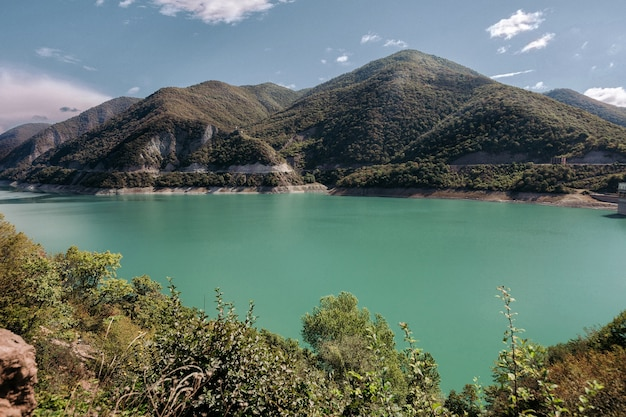 Beautiful view of the zhinvalskoe reservoir, georgia.