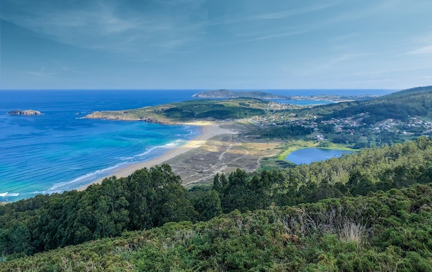 Beautiful views of the coast of galicia in spain during sunny morning