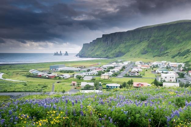 Красивая деревня вик на юге исландии