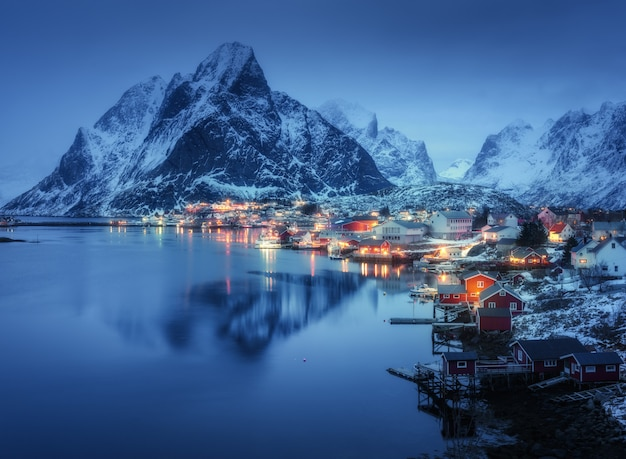 Beautiful village at night in norway
