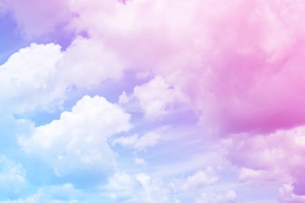 배경, 부드러운 색상 및 파스텔 색상에 대한 다채로운 구름과 하늘 추상의 아름다운 빈티지