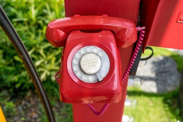 Beautiful vintage red color antique telephone.