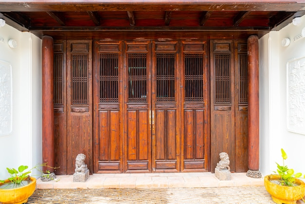 Beautiful and vintage wood door in asian style