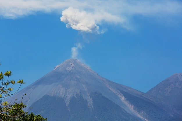 Beautiful volcanoes landscapes in guatemala, central america