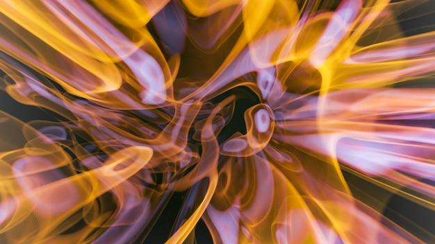 美しいボリュームの火のモーションアートが流れる、カラフルな3dレンダリング幾何学的な流体インクの渦巻きは、星雲の宇宙効果、抽象的な背景に似ています