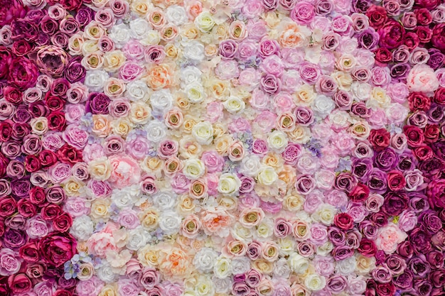 Beautiful wall decorated with roses