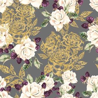 Красивая акварель и золотой графический бесшовный образец с цветами роз и ягод. иллюстрация