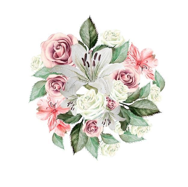 花バラ、ユリ、アルストロメリヤの美しい水彩画の花束