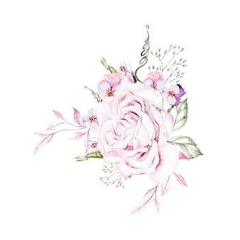 さまざまな花のイラストで美しい水彩花束