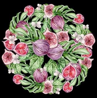 Красивая акварель яркая открытка с плодами инжира. иллюстрация