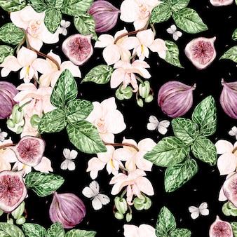 Красивый акварельный яркий образец с цветами орхидей и плодами инжира. иллюстрация