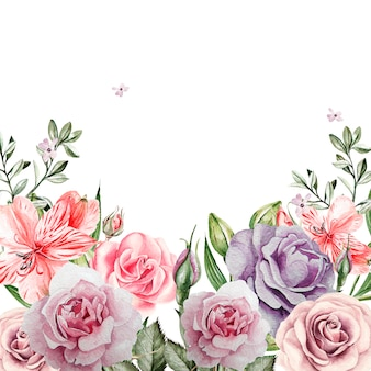Beautiful watercolor card with roses flowers. illustration