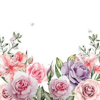 バラの花と美しい水彩画カード。図