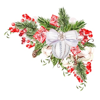クリスマスのおもちゃとベリーの美しい水彩画のクリスマスブーケ