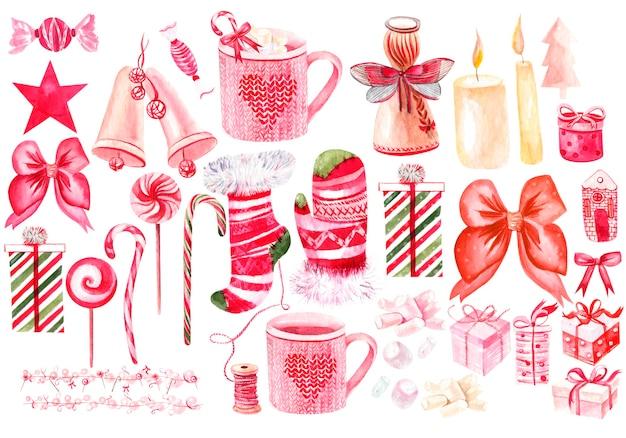 크리스마스 선물 장난감 장식품이 있는 아름다운 수채화 크리스마스 카드 크리스마스 트리와 콘
