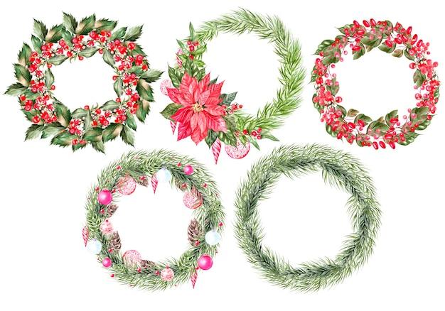 クリスマスプレゼント付きの美しい水彩画のクリスマスカード