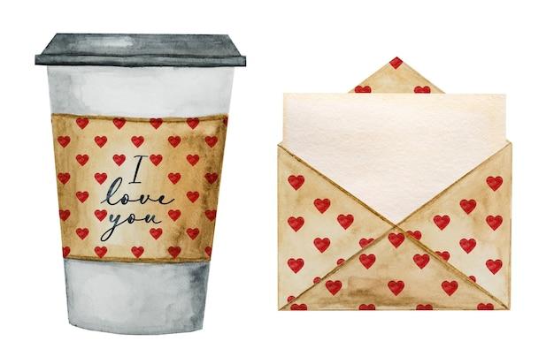 커피 컵의 아름다운 수채화 그리기.