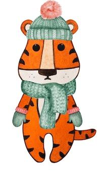 Красивый акварельный рисунок маленького тигренка