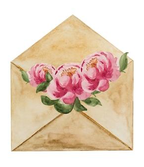 메일 봉투의 아름 다운 수채화 그리기입니다.