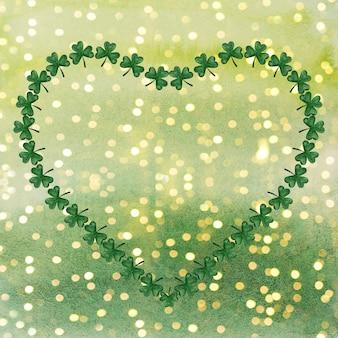밝은 녹색 클로버의 아름다운 수채화 그리기. 근접 촬영, 아니 사람, 질감. 사랑하는 사람, 친척, 친구 및 동료를 축하합니다