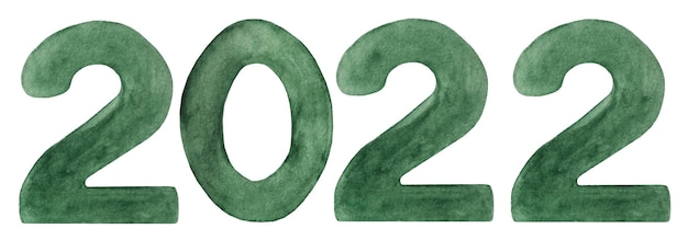 Красивый акварельный рисунок чисел 20 22