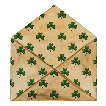 Beautiful watercolor drawing of a postal envelope with a cloverleaf pattern. closeup, no people, texture. congratulations for loved ones, relatives, friends and colleagues