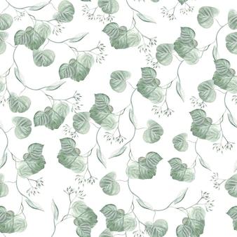 Красивые акварельные листья эвкалипта. иллюстрация