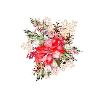 鳥、ポインセチア、スノーベリーと美しい水彩花の花束