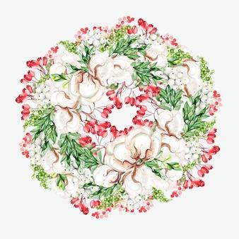 綿とスノーベリー、ローズヒップの美しい水彩画の花の花輪。図