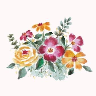 美しい水彩画の花の花束