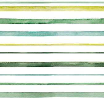 白いbackgruondの美しい水彩画の緑の色合いの線