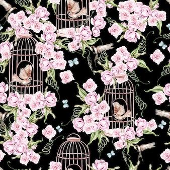 鳥と花と鳥かごのイラストと美しい水彩画パターン