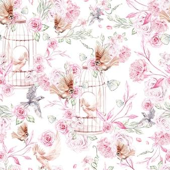 Красивый акварельный узор с птицами и цветами и клеткой для птиц