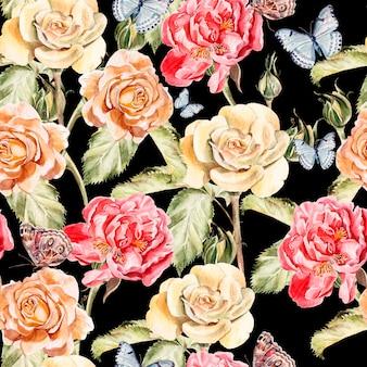 蝶、牡丹の花、バラの美しい水彩画のパターン。図