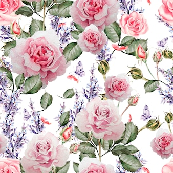 Beautiful watercolor pattern with the colors of lavender and roses. illustration.