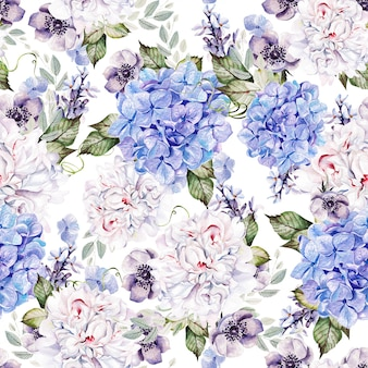 Beautiful watercolor pattern with flowers
