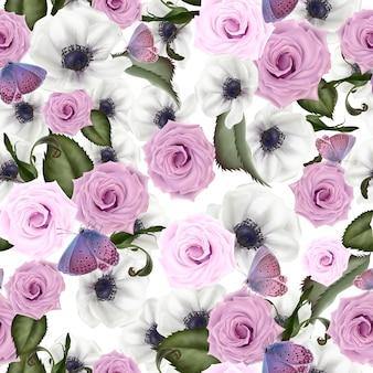 花の美しい水彩画パターン