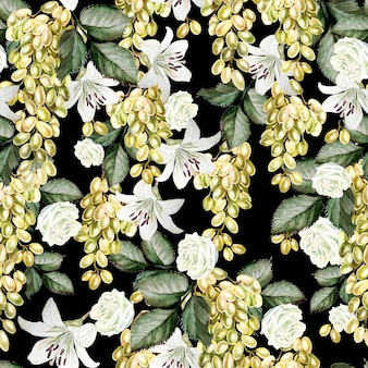 포도와 장미, 백합 꽃이 있는 아름다운 수채색 패턴입니다. 삽화