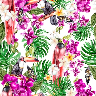 난초 꽃, 열대 잎, 새가 있는 아름다운 수채화 패턴입니다. 삽화.