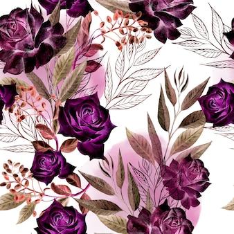 Красивый акварельный образец с розовыми цветами и листьями эвкалипта. иллюстрация