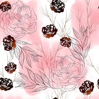 Красивый акварельный образец с розовыми цветами, пионами и листьями эвкалипта. иллюстрация