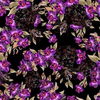 Красивый акварельный фон с цветами альстромерии, худрангии и лилии. иллюстрация