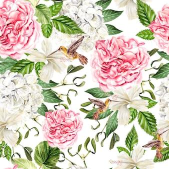 후드란지아, 히비스커스, 모란, 벌새의 꽃과 함께 아름다운 수채색 매끄러운 패턴입니다. 삽화