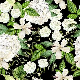 Красивый акварельный фон с цветами худрангии, гибискуса и розы. иллюстрация