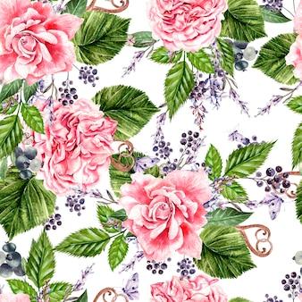 Красивый акварельный фон с цветами розы, пиона, лаванды. иллюстрация
