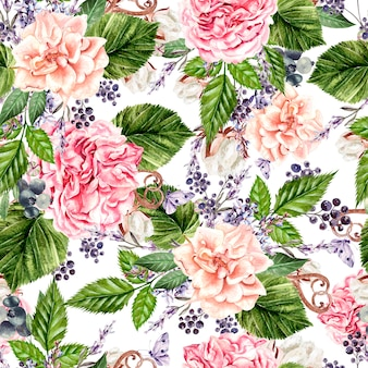 Beautiful watercolor seamless pattern with flowers of  rose, peony, lavender and cotton.  illustration