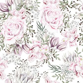 장미와 모란 꽃 일러스트와 함께 아름 다운 수채화 원활한 패턴