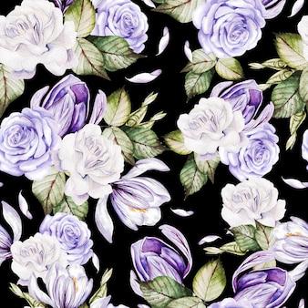バラの花とクロッカスと美しい水彩画のシームレスなパターン