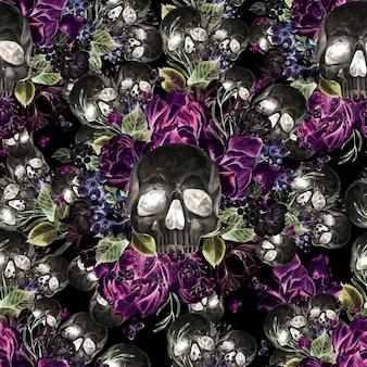 Красивая акварель бесшовные модели с черепом и цветами пиона и роз. иллюстрация